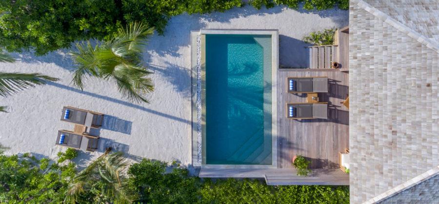 Hurawalhi Beach Pool Villa von oben