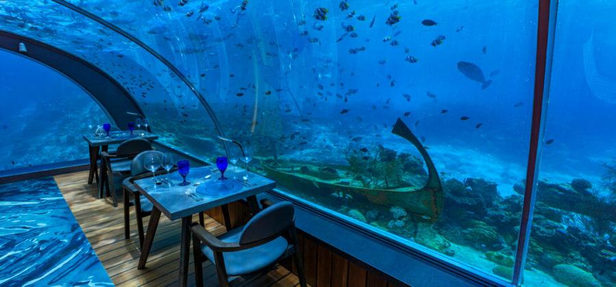 Hurawalhi Unterwasser Restaurant Ausblick rechts