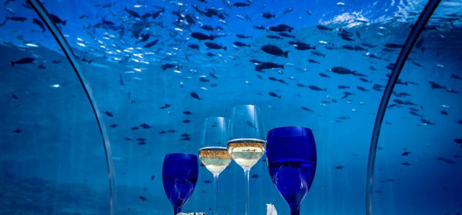 Hurawalhi Unterwasser Restaurant Sekt