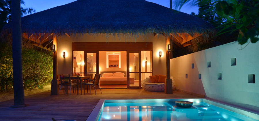Huvafen Fushi Deluxe Beach Bungalow with Pool Exterior