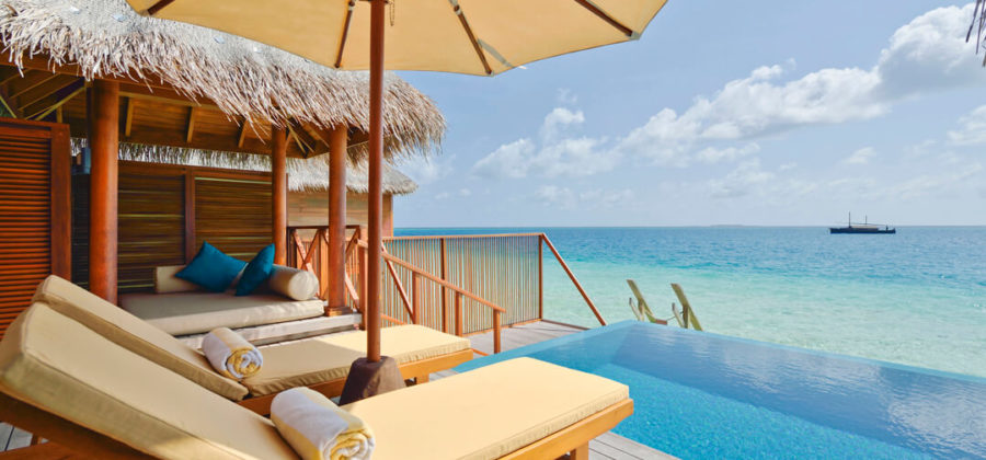 Huvafen Fushi Lagoon Beach Bungalow with Pool Terrasse