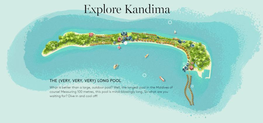 Kandima Karte der Insel
